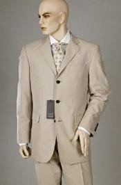 ~ Beige Double Vent Super 120s Wool Mens Dress Buienss 3