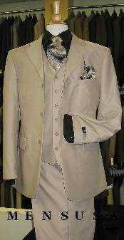 Tan ~ Beige Solid Three Piece Three Button three piece suit