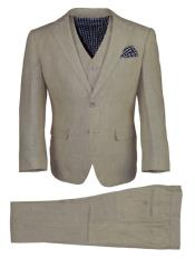 2 Button Notch Lapel Kids Sizes Tan 3 Pc Linen Vested Suit Perfect For boys wedding outfits
