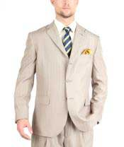 Tazio Suit Three Button Tone on Tone Shadow Stripe ~ Pinstripe Traditional Fit -Tan ~ Beige