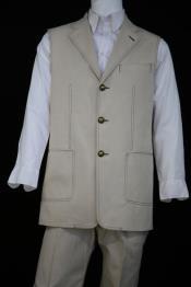 Mens Stitch Accents Denim Vintage Patch Pocket Alabaster Zoot Suit
