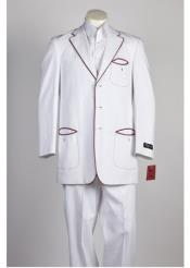 Single Breasted 3 Button White Red Suit
