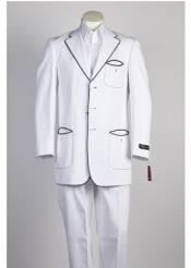 Button Fashion Suit White