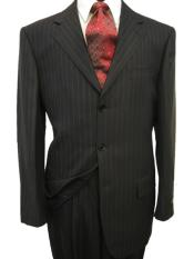 UBA584 High Quality MU28 Black & Smooth Dark Gray Pinstripe Business 2 or Three ~ 3 Buttons