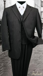 3PC 2 or 3 buttons Black Tone On Tone Stripe ~ Pinstripe Mens three piece suit