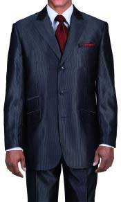Pocket 3 Button Peak Lapel Black Sharkskin Shiny Metallic Jacket &