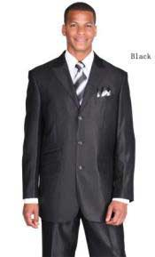 Black Ticket Pocket Three Button Peak Lapel Suit For Mens