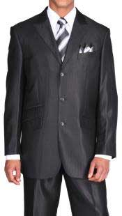 Pocket 3 Button Peak Lapel black