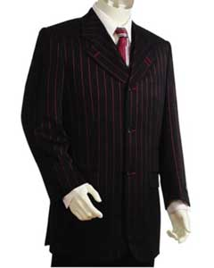 Bold Pronounce Gangster Pinstripe 3 Button Vested Wide Leg Pants 34 Inch Jacket Notch Collar Red/Black