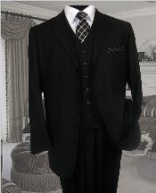 NICE 3PC 3 BUTTON SOLID COLOR BLACK MENS three piece suit