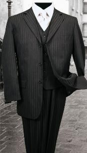 3PC Black Tone on Tone Stripe ~ Pinstripe Mens three piece suit With a Vest 2 Buttons