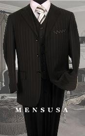 Black tone on tone Pinstripe Vested Mens Suits Available 2 Buttons