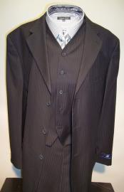 Mens Three Buttons Style suit ~ 3 Buttons Black On Black Ton