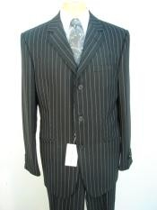 ~ Pinstripe Three ~ 3 Buttons Jet Black Chalk Super 120s Worsted Super fine Wool feel poly~rayon