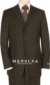 Vent Dark Brown Three ~ 3 Buttons Mens Dress Business Suits