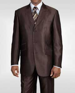 Ticket Pocket 3 Button Peak Lapel Brown Sharkskin Shiny Metallic Jacket &