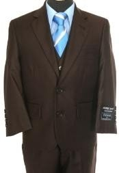 3 piece 2 Button Suit Brown