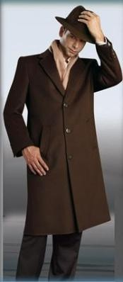 Dress Coat Chocolate Brown Long Mens Dress Topcoat -  Winter