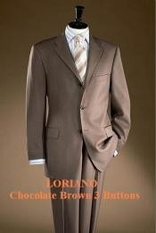 Brown 3 Buttons Mens Super 120s Wool