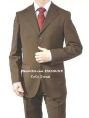 Dark Brown Super Wool Feel Poly~Rayon 3 Buttons Dress Business Suits