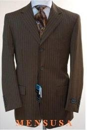brown pinstripe 3 Button Cheap Priced Business Suits Clearance Sale 100% Wool Feel Touch Poly Rayon