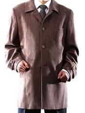 Quarters Length Mens Dress Coat 3 Buttons Brown Herringbone  Back