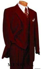 ~ Maroon ~ Wine Color DRESS three piece suit 2 Button