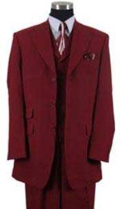 Mens Burgundy ~ Wine ~ Maroon Peak Lapel Vested Pocket  Milano
