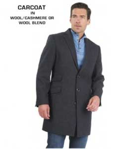 3 Button Fully Lined Charcoal Grey Wool & Cashmere Mens Carcoat