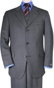 Mens 3 Buttons Vested 3 ~ Three Piece Suit Super 150s Wool