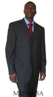 Buttons Heather  Side Vented CHARCOAL GRAY SUPER 150S WOOL~SUIT -