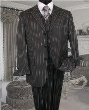 Mens Three Piece Suit - Vested Suit Charcoal Bold Chalk 3 Piece