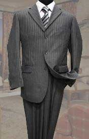 3 Button Charcoal Tone On Tone Stripe ~ Pinstripe Mens Suit