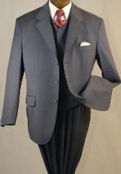 Buttons High Vested 3Pc Mens Suits in Charcoal Gray