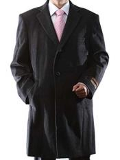 Dress Coat Three Quarter Length Charcoal Luxury Wool/Cashmere 3 Buttons Notch