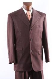 Mens Superior 150s  Three Button Cocoa Vested Suit with Peak Lapel