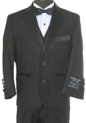 Boys 3 piece 2 Button Tuxedo Black