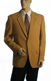 Breasted Available in 3 Button Style Jacket Solid Gold Blazer
