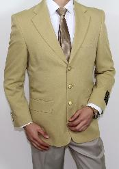 Three buttons Notch Lapel Super 120s Gold Cheap Unique Dress Blazer Jacket For Men Sale