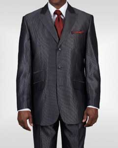 Ticket Pocket 3 Button Peak Lapel Dark Gray Sharkskin Shiny Metallic Jacket