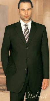 Unique 2PC 3 Button Style Solid Olive Green Suit With Pleated