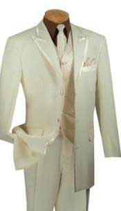 Mens 3 Button Peak Lapel Vested 4 Piece Suit