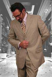 Sand Super 120s wool feel poly~rayon Khaki Cheap Priced Business Suits