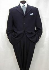 Darkest Dark Navy Blue Suit For Men Wool 3 Buttons Style
