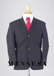 Boys Solid Dark Navy Blue Suit For Men 3 Buttons Light Weight