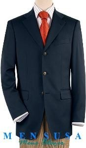 Navy Blue Three buttons Notch Lapel Front 4 on Sleeves Fully