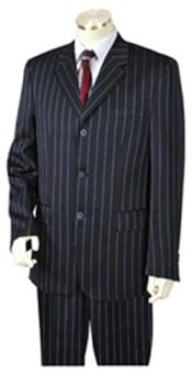 Mens Dark Navy-blue Pinstripe 3 Button Vested Wide Leg Pants