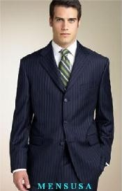 Dark Navy Blue Suit For Men Stripe ~ Pinstripe Available in 2 or 3 Buttons Style Regular