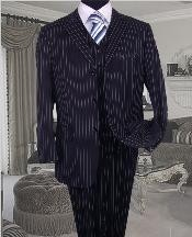 Mens Three Piece Suit - Vested Suit Navy Bold Chalk Pronounce 3
