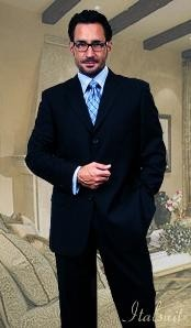 2PC 3 Button Dark Navy Blue Mens Suit With Flat Front